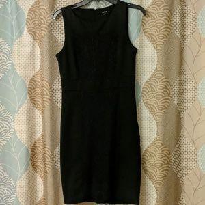 Lace front black dress
